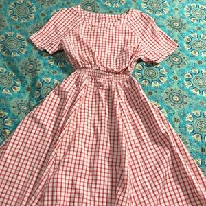 Red and white checked dress vintage inspired
